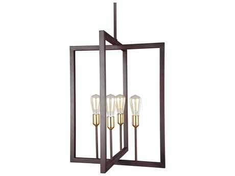 Feiss Finnegan New World Bronze Four-Light 21'' Wide Edison Mini-Chandelier FEIF31464NWB