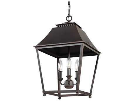 Feiss Galloway Dark Antique Copper & Antique Copper Three-Light 13'' Wide Mini-Chandelier FEIF30893DACAC