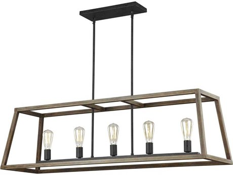 Feiss Gannet Weathered Oak Wood / Antique Forged Iron 50'' Wide Industrial Island Light FEIF31935WOWAF