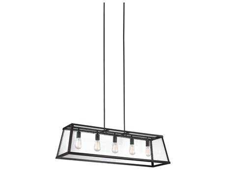 Feiss Harrow Oil Rubbed Bronze Five-Light 44'' Wide Edison Bulb Island Light FEIF30735ORB