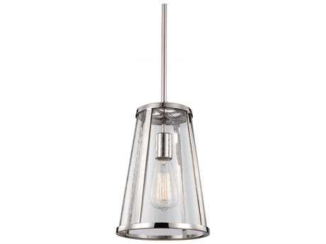 Feiss Harrow Polished Nickel 8'' Wide Edison Bulb Mini-Pendant with Clear Seedy Glass Shade FEIP1287PN
