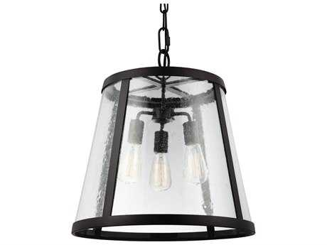 Feiss Harrow Oil Rubbed Bronze Three-Light 18.88'' Wide Edison Bulb Pendant Light with Clear Seedy Glass Panels Shade FEIP1288ORB