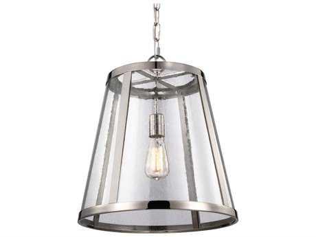 Feiss Harrow Polished Nickel 16'' Wide Edison Bulb Pendant Light with Clear Seedy Glass Shade FEIP1289PN