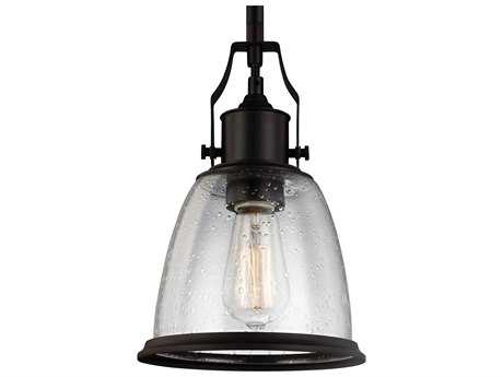Feiss Hobson Oil Rubbed Bronze 7.5'' Wide Mini-Pendant with Clear Seeded Glass Shade FEIP1354ORB