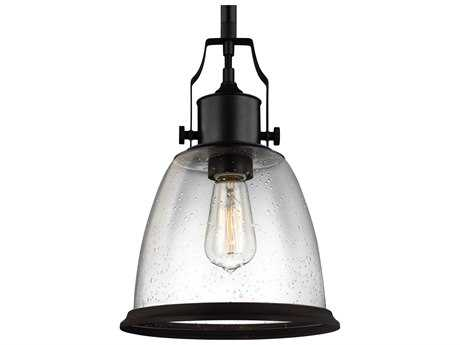 Feiss Hobson Oil Rubbed Bronze 9.5'' Wide Pendant Light with Clear Seeded Glass Shade FEIP1355ORB
