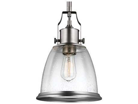 Feiss Hobson Satin Nickel 9.5'' Wide Pendant Light with Clear Seeded Glass Shade FEIP1355SN