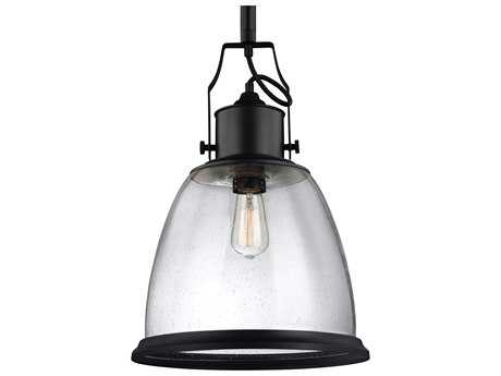 Feiss Hobson Oil Rubbed Bronze 14'' Wide Pendant Light with Clear Seeded Glass Shade FEIP1356ORB