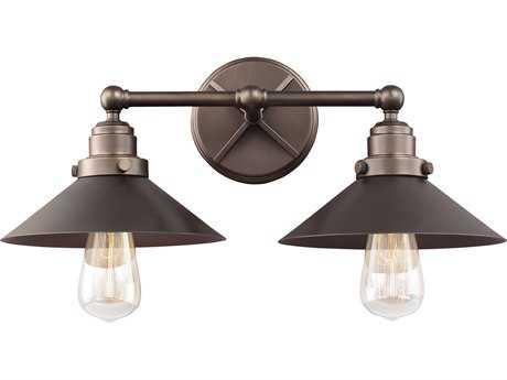 Feiss Hooper Antique Bronze Two-Light 19.75'' Wide Edison Vanity Light FEIVS23402ANBZ