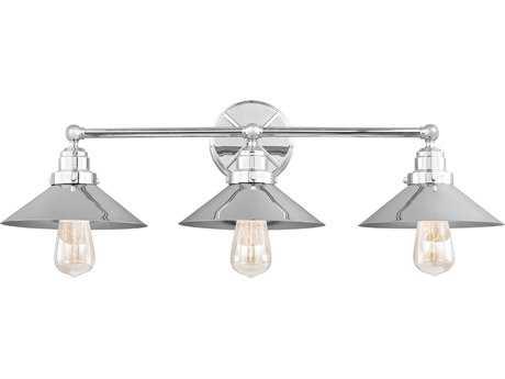 Feiss Hooper Chrome Three-Light 31.5'' Wide Edison Vanity Light