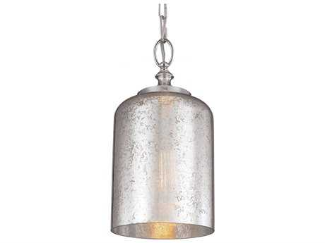Feiss Hounslow Polished Silver Mercury Plating Glass Shade Nickel 7'' Wide Edison Bulb Mini Pendant Light FEIP1320PN
