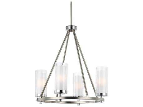 Feiss Jonah Satin Nickel & Chrome Four-Light 20'' Wide Mini-Chandelier FEIF29844SNCH