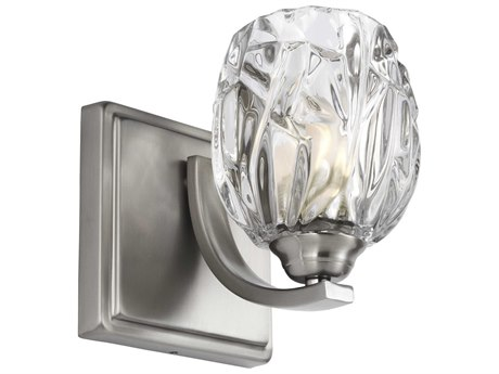 Feiss Kalli Satin Nickel 5'' Wide Vanity Light with Clear Glass Shade FEIVS22701SNL1