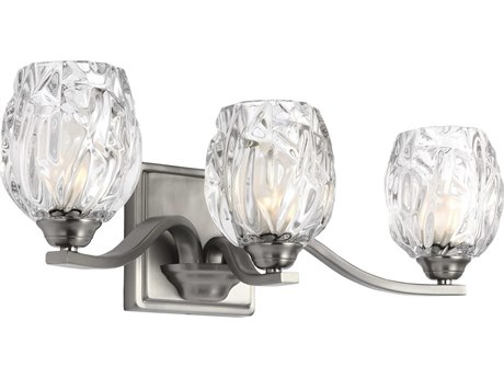 Feiss Kalli Satin Nickel Three-Light 20'' Wide Vanity Light with Clear Glass Shade FEIVS22703SNL1
