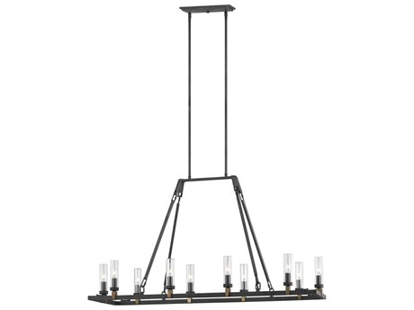 Feiss Landen Antique Forged Iron / Painted Aged Brass 47'' Wide Glass Island Light FEIOLF321810AF