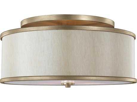 Feiss Lennon Sunset Gold Three-Light 20'' Wide Semi-Flush Mount with Cream Linen Shade FEISF339SG