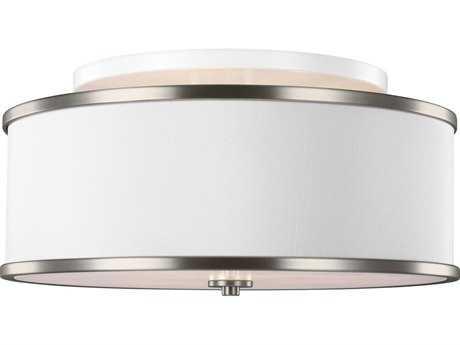 Feiss Lennon Satin Nickel Three-Light 20'' Wide Semi-Flush Mount with White Linen Shade FEISF339SN