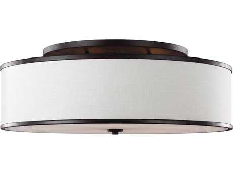 Feiss Lennon Oil Rubbed Bronze Five-Light 30.25'' Wide Semi-Flush Mount with Ivory Linen Shade FEISF340ORB