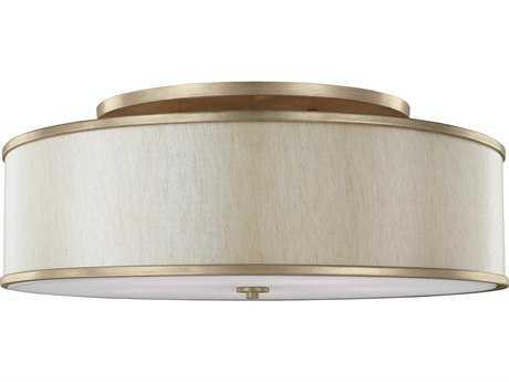 Feiss Lennon Sunset Gold Five-Light 30.25'' Wide Semi-Flush Mount with Cream Linen Shade FEISF340SG