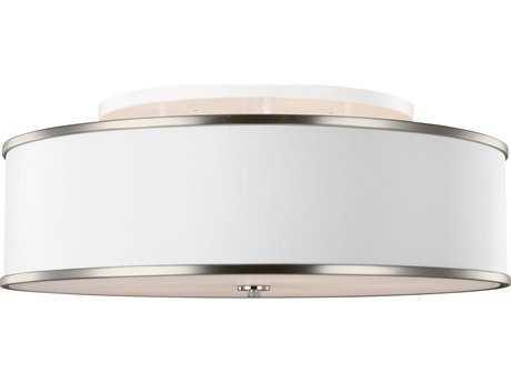 Feiss Lennon Satin Nickel Five-Light 30.25'' Wide Semi-Flush Mount with White Linen Shade FEISF340SN