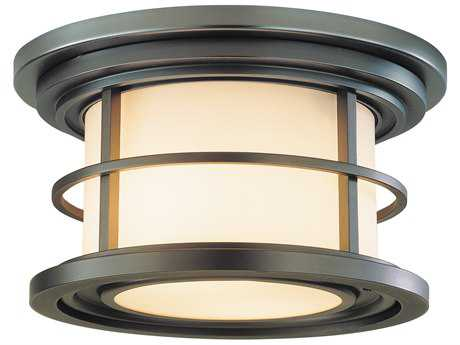 Feiss Lighthouse Burnished Bronze Two-Light 10'' Wide Edison Bulb Outdoor Flush Mount Light with Opal Etched Glass Shade FEIOL2213BB