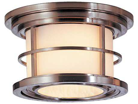 Feiss Lighthouse Brushed Steel Two-Light 10'' Wide Edison Bulb Outdoor Flush Mount Light with Opal Etched Glass Shade