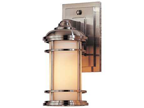 Feiss Lighthouse Brushed Steel 4.5'' Wide Edison Bulb Outdoor Wall Sconce with Opal Etched Glass Shade