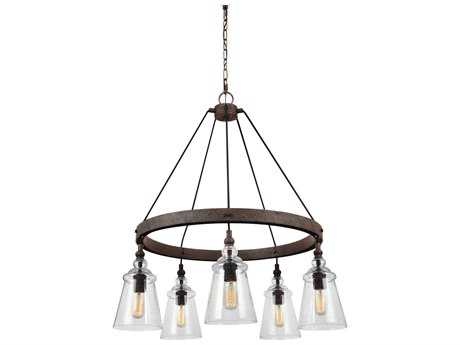 Feiss Loras Dark Weathered Iron Five-Light 27'' Wide Edison Chandelier FEIF31695DWI