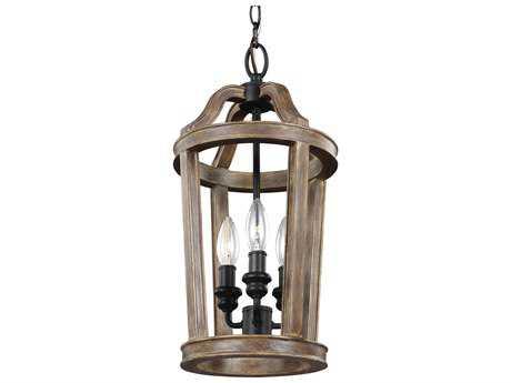Feiss Lorenz Weathered Oak Wood & Dark Weathered Zinc Three-Light 9'' Wide Mini-Chandelier FEIF30293WOW