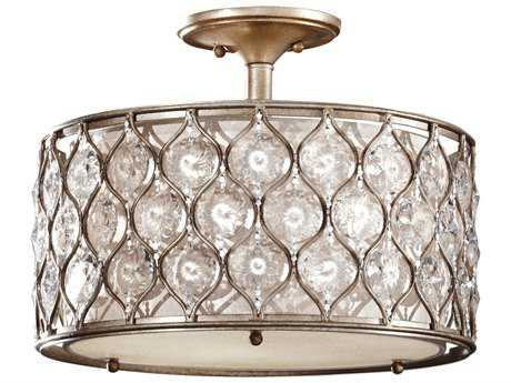 Feiss Lucia Burnished Silver Three-Light 16'' Wide Semi-Flush Mount with Beige Fabric Shade