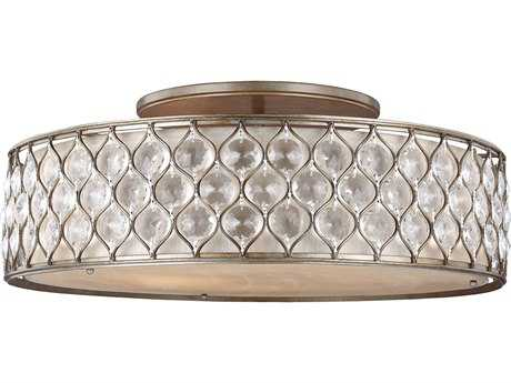 Feiss Lucia Burnished Silver Six-Light 30'' Wide Semi-Flush Mount with Linen Fabric Shade FEISF329BUS
