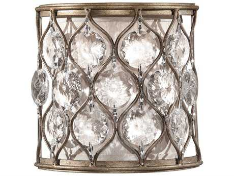 Feiss Lucia Burnished Silver 8'' Wide Wall Sconce with Cream Fabric Shade FEIWB1497BUS