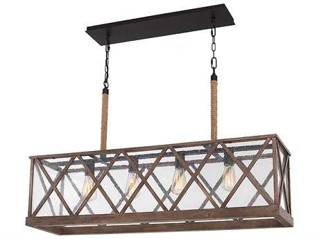 Feiss Lumiere' Dark Weathered Oak & Oil Rubbed Bronze Four-Light Island Light FEIF29574DWOORB