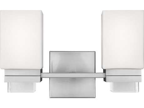 Feiss Maddison Satin Nickel Two-Light 14'' Wide Vanity Light with Opal Etched Glass Shade FEIVS20602SN