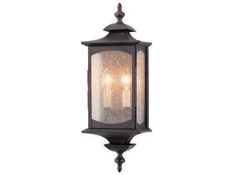 Feiss Market Square Oil Rubbed Bronze Two-Light 6.75'' Wide Outdoor Wall Sconce with Clear Seeded Glass Shade FEIOL2601ORB