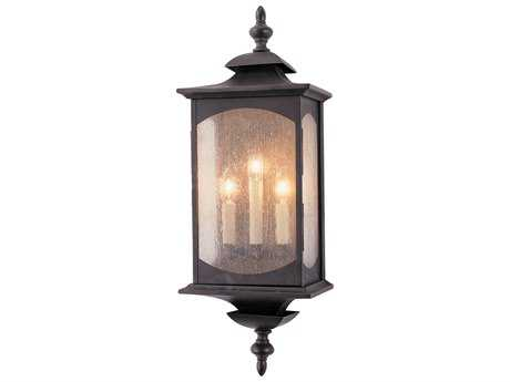 Feiss Market Square Oil Rubbed Bronze Three-Light 9'' Wide Outdoor Wall Sconce with Clear Seeded Glass Shade