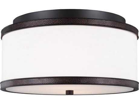 Feiss Marteau Oil Rubbed Bronze Two-Light 13'' Wide Edison Bulb Flush Mount Ceiling Light FEIFM502ORB