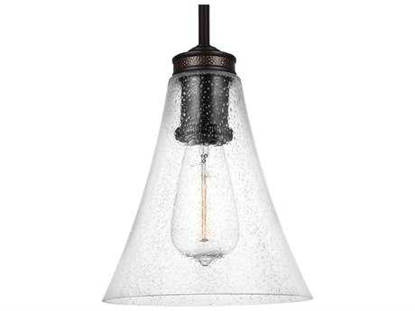 Feiss Marteau Oil Rubbed Bronze 7.25'' Wide Edison Bulb Mini-Pendant with Clear Seeded Glass Shade FEIP1427ORB