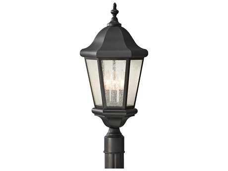 Feiss Martinsville Black Glass Outdoor Post Light