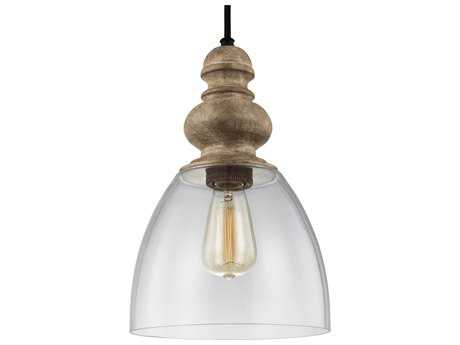 Feiss Matrimonio Clear Glass Shade Driftwood / Dark Weathered Zinc 9'' Wide Mini Pendant Light  FEIP1395DFWDWZ