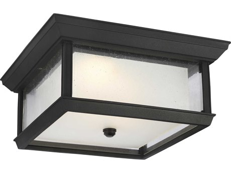 Feiss McHenry Textured Black Two-Light 13'' Wide LED Outdoor Ceiling Light FEIOL12813TXBL1