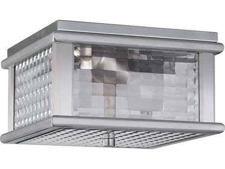 Feiss Mission Lodge Brushed Aluminum Two-Light 9'' Wide Edison Bulb Outdoor Flush Mount Light with Clear Checked Glass Shade FEIOL3413BRAL