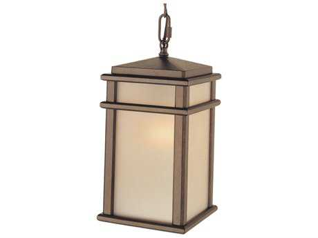 Feiss Mission Lodge Corinthian Bronze 7'' Wide Edison Bulb Outdoor Hanging Pendant Light with Amber Ribbed Glass Shade FEIOL3411CB