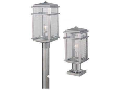 Feiss Mission Lodge Brushed Aluminum 7'' Wide Edison Bulb Outdoor Post Mount Light with Clear Checked Glass Shade FEIOL3407BRAL