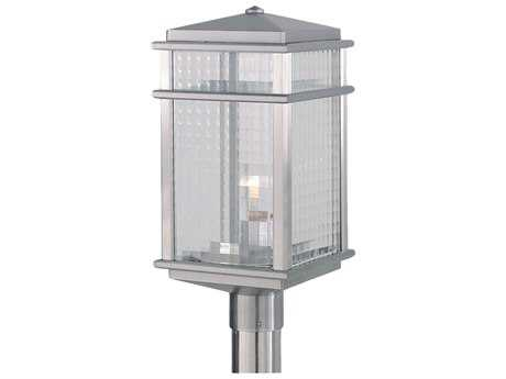 Feiss Mission Lodge Brushed Aluminum 9'' Wide Edison Bulb Outdoor Post Mount Light with Clear Checked Glass Shade FEIOL3408BRAL