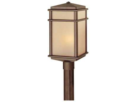 Feiss Mission Lodge Corinthian Bronze 9'' Wide Edison Bulb Outdoor Post Mount Light with Amber Ribbed Glass Shade FEIOL3408CB