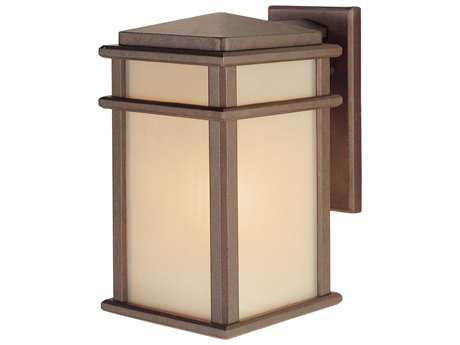 Feiss Mission Lodge Corinthian Bronze 7'' Wide Edison Bulb Outdoor Wall Sconce with Amber Ribbed Glass Shade