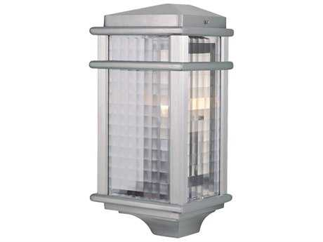 Feiss Mission Lodge Brushed Aluminum 7'' Wide Edison Bulb Outdoor Wall Sconce with Clear Checked Glass Shade