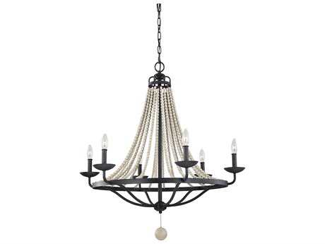 Feiss Nori Dark Weathered Zinc / Driftwood Grey Six-Light 32.5'' Wide Chandelier FEIF31296DWZDWG