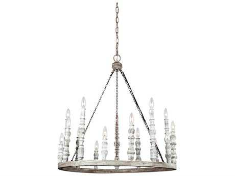 Feiss Norridge Distressed Fence Board / Distressed White 15-Light 30'' Wide Chandelier FEIF314215DFBDWH