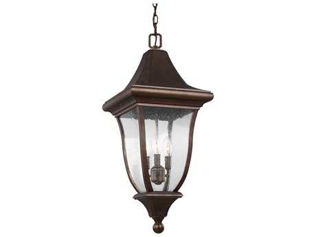 Feiss Oakmont Patina Bronze Three-Light 12'' Wide Outdoor Hanging Latern